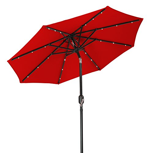 Trademark Innovations Solar LED Patio Umbrella, Red, 7′
