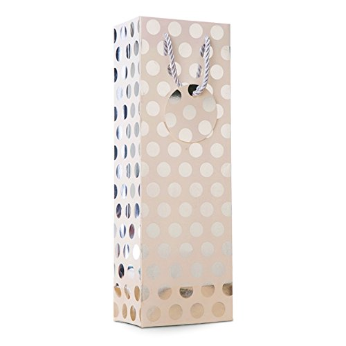 UNIQOOO 12Pcs Premium Quality Metallic Foil Gold,Silver,Red,Purple Polka Dot Wine Gift Bag Bulk, Single Wine Tote 14''x4.75''x3.5'' w/Gift Massage Tag,100% Recyclable Paper,Wine Liquor Carrier Bags Cover by NAVADEAL (Image #5)