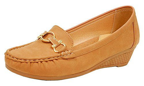 Spicy Women's W317 Horsebit Moccasin Loafer Driving Boat - Moccasin Wedges