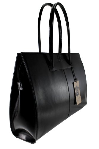 in Bag with Women's Shoulder CTM 100 Leather Genuine Italy Handles Black 40x30x12cm Made ZqUvwdTwE