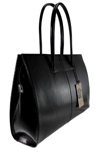 cuir en femmes porte de 40x30x12cm pour Fabriqué Sac documents Italie professionnels Noir avec poignées véritable 100 MC 16PUxSqw
