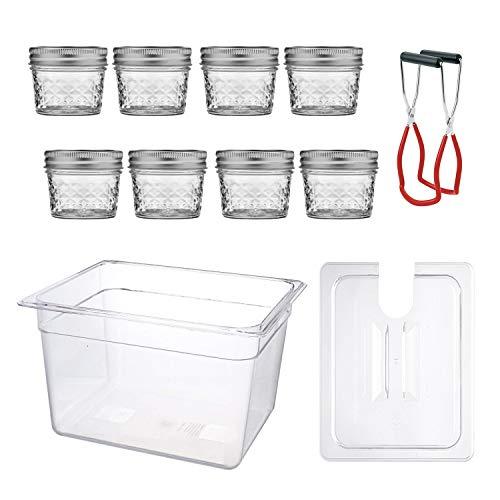 Sous Vide Egg Bites Mold Kit - 8 Sous Vide Jars (4 Oz, Glass), Sous Vide Container with Lid (12 Quart) and Jar Lifter for Sous Vide Mason jars   ()