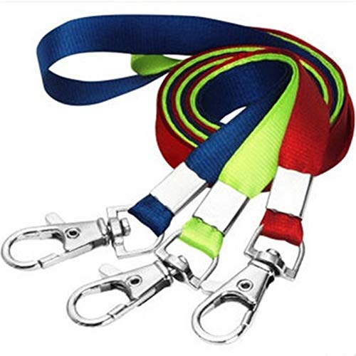 - 12 Packs Multicolor Flat Polyester Neck Lanyard Strap Badge Lanyards Woven Lanyards with Metal Clip for ID Name Tag Badge Holders, Keys, Random Color
