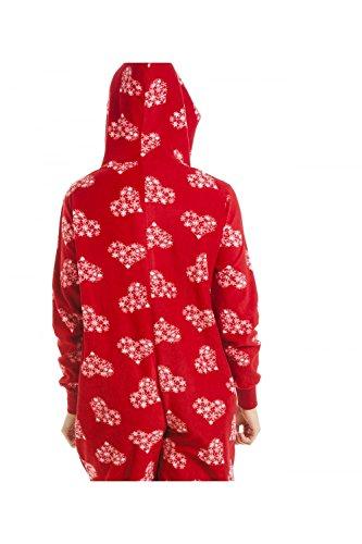 Camille Verschiedene Farbe und Druck Super Weiches Fleece Alles in Einem Red Snow Flake Onesie sl8rQbSAj