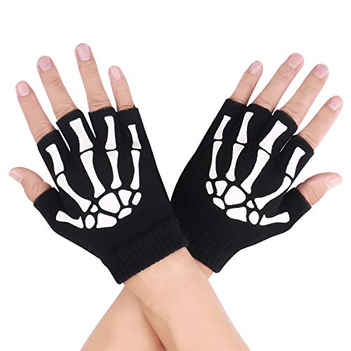 Unisex Skeleton Black Durable Warm Fingerless,Glow in the Dark Knit Gloves (Fingerless - black) -