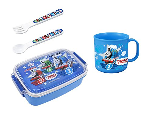 - Bundled Set of 4 Thomas and Friends Products - Lunch (Bento) Box, Cup, Spoon and Fork (Japan Import)