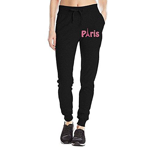 Losport Women's Paris Cotton Joggers Pants Slim Fit Bottoms Fleece Pant With Pockets L Black
