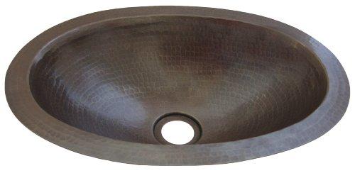 Drop In Lav Sink - Novatto TCU-004AN Copper Drop-In oval Bathroom Sink, 15 x 11 x 4.5 inches, Bronze