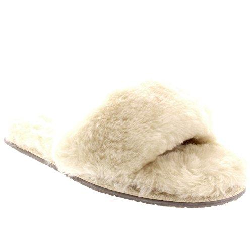 Polar Donna Genuina Pelle Di Pecora Australiana Mules Punta Aperta Pelliccia Lusso Pantofole - Beige - UK7/EU40 - YC0415
