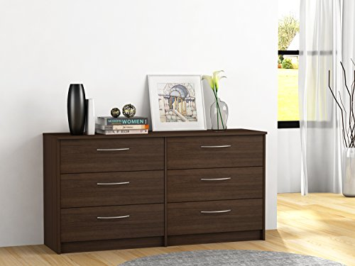 Elegant 6-Drawer Dresser with Metal Ball Bearing Slides, Sturdy and Long Lasting Engineered Wood, Ample Storage Space, Metal Handles with Brushed Nickel Finish, Multiple Finishes