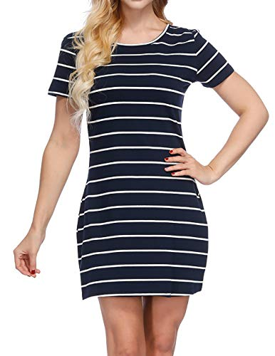 b7b1042e44 CYFLYMDER Women's Casual Loose Striped Lovely Dress Short Sleeve T Shirt Mini  Dress with Pockets
