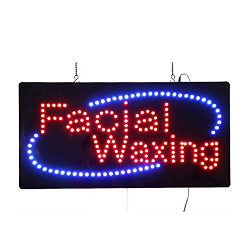 (LED Facial Waxing Light Sign Super Bright Electric Advertising Display Board for Nails Spa Pedicure Message Business Shop Store Window Bedroom 24 x 12 inches)