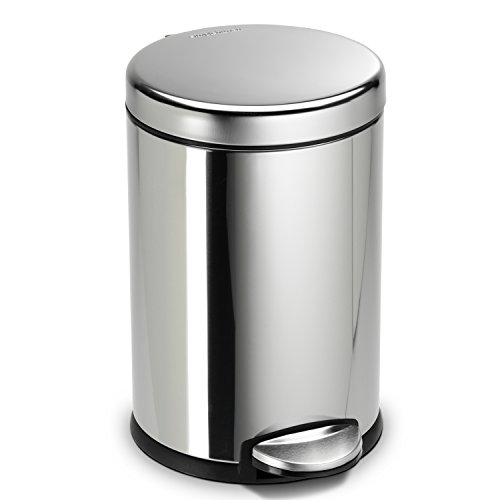 Simplehuman 4 5 Liter 1 2 Gallon Compact Stainless Steel Round Bathroom Step Trash Can