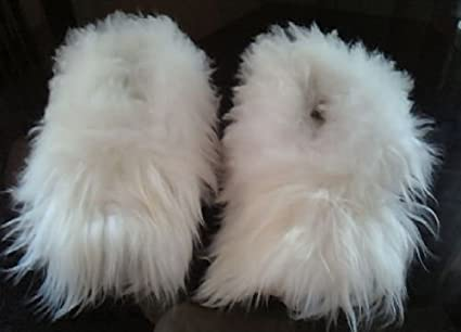 87df8811dcc51 The Best Baby Alpaca Fur White Slippers Peru All Sizes