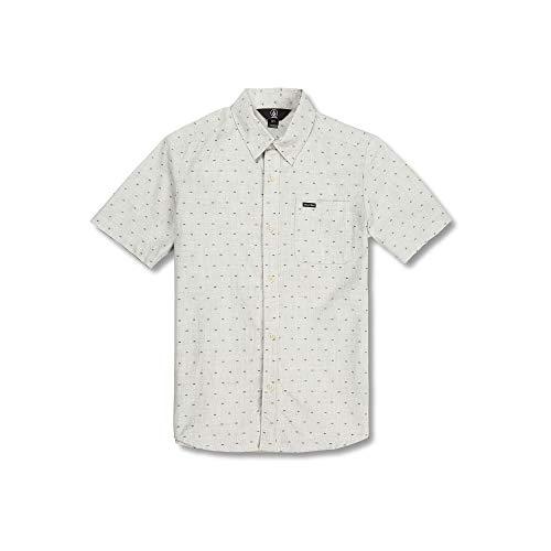 - Volcom Big Boys Mark Mix Modern Fit Short Sleeve Button Up Shirt, White Flash, Medium