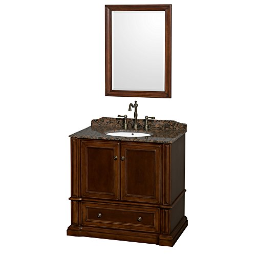 Wyndham Collection Rochester 36 inch Single Bathroom Vanity in Cherry, Baltic Brown Granite Countertop, Undermount Oval Sink, and 24 inch ()