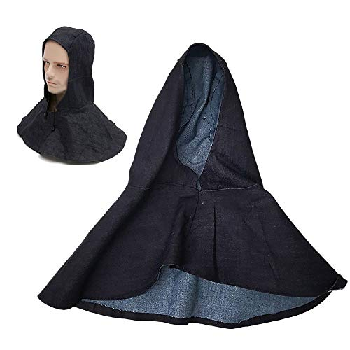 BYBYCD Denim Fabric Welding Head Neck Shoulder Protective Hood Cap Practical Flame Retardant Welder Safety Cover - Hood Drawcord