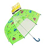 Kids Umbrella for Girls and Boys, Hibbent Bubble Umbrella Rainy Day with Clear Peek-a-Boo Windowpane Children's Stick UmbrellaWindproof, Pop-up 3D Car and Colorful Prints-Green