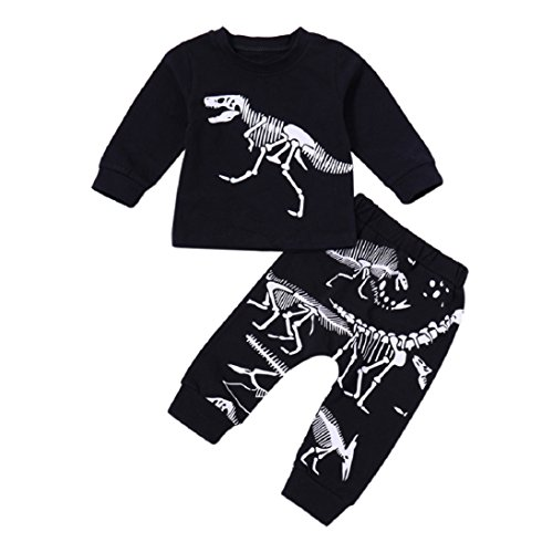 Gallity Baby Boys Girls Kids 2pcs Clothes Dinosaur Bone Print Tops T-shirt + Pants Outfits Set (3T, Black)