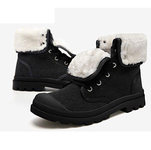 Vapaa Taitettu Unisex Saappaat Musta Korkeat Kengät Lämpimät Lumi Ulkona Anguang Aqw5d8EA