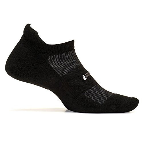 Feetures! Men's High Performance Cushion No Show Tab, Black, Sock Size:10-13/Shoe Size: 6-12