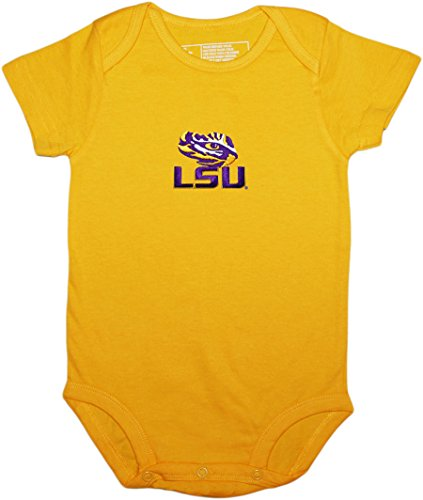 State University Tigers (LSU Lousiana State University Tigers Newborn Baby Bodysuit,Gold,0-3 Months)