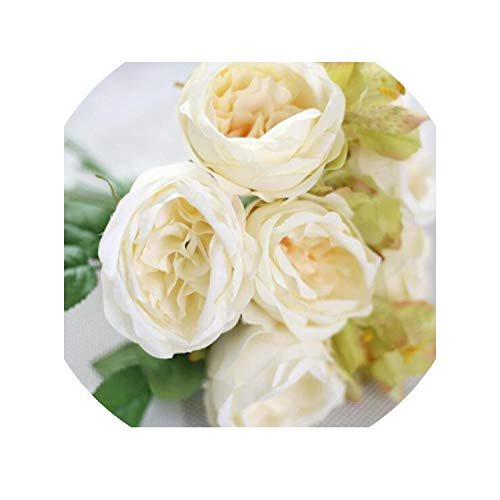 Lily Flower Bouquets Artificial Wedding Bridal Bouquet Peony Flowers Home Party Garden Decoration Photography Props Roses,Green]()