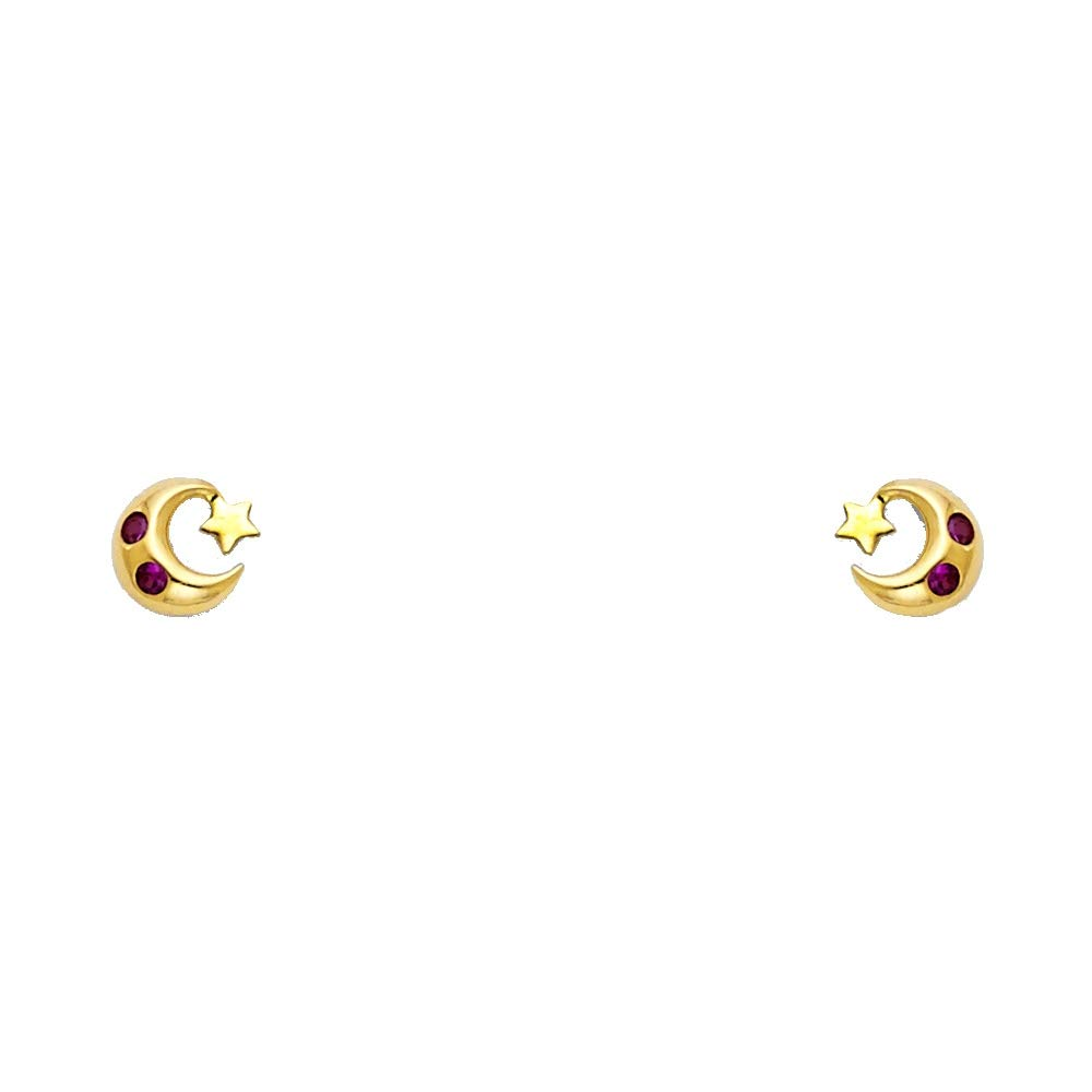 Wellingsale 14K Yellow Gold Polished Crescent Moon And Star Stud Earrings With Screw Back
