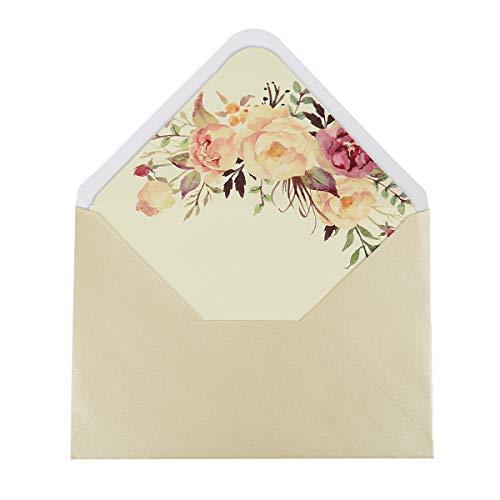 (Doris Home A-7 36pcs Pearl Beige Envelopes for Wedding Invitations, Greeting Cards, Photos, Announcements (5.3 x 7.7 inch),36pcs,EN03-50 (Flower))
