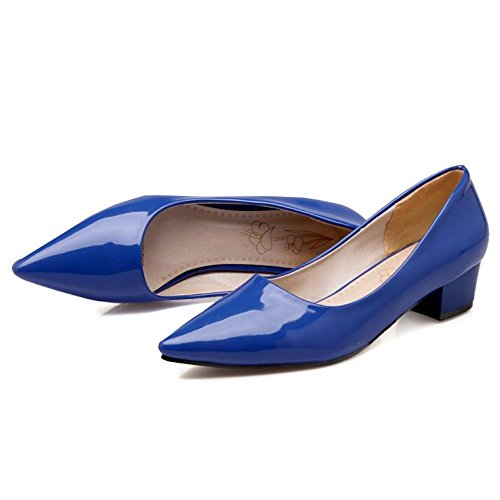 Party Slip Coolcept Pumps Low Women Low On Toe Blue Pointed Heels Heels Girls O585pq