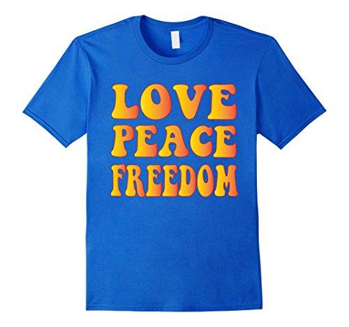 Mens LOVE PEACE FREEDOM T-Shirt 60s 70s Tie Die Hippie Shirt 2XL Royal Blue - Mens 60s Fashion