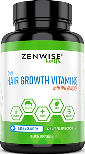 Hair Growth Vitamins Supplement - 5000 mcg Biotin & DHT Blocker Hair Loss Treatment for Men & Women - 2 Month Supply With Vitamin A & E to Stimulate Faster Regrowth + Care for Damaged Hair - 120 Pills