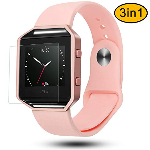 Greatgo Fitbit Blaze Bands 3 in 1 Watch Wristband Strap Soft Silicone Replacement Protective Case Frame with Screen Protector Smart Fitness Watch Bracelet for Men Women Pink