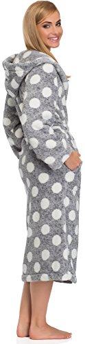 L&L Albornoz para Mujer con Capucha Darcy Long Gris/Blanco