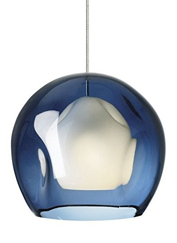 Tech Lighting 700MPJASUS Mini Jasper - One Light Monopoint Pendant, Satin Nickel Finish with Blue Glass