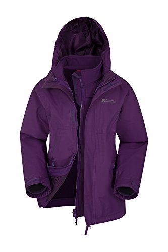 Mountain Warehouse Bracken 3 in 1 Kids Waterproof Jacket - Spring Purple 13 Years
