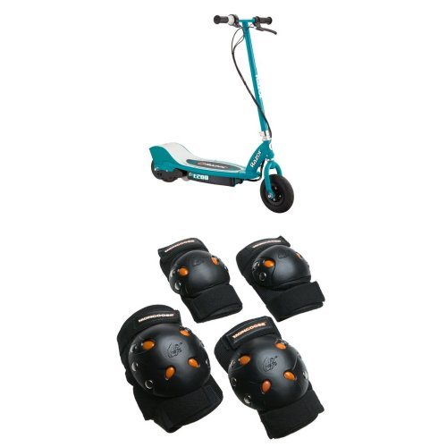 Razor E200 Electric Scooter - Teal and Mongoose BMX Bike Gel Knee and Elbow (Razor Electric Bicycle)