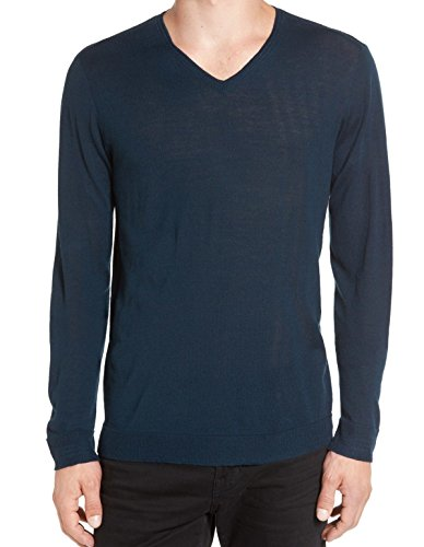 V-neck Luxe Sweater (John Varvatos Mens Large Luxe V-Neck Wool Sweater Blue L)