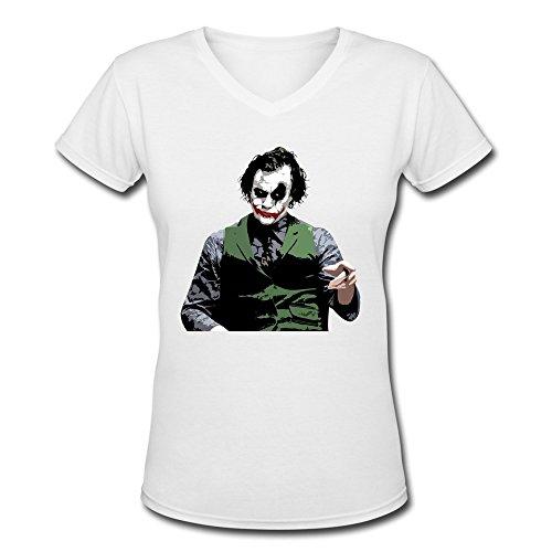 DeMai Women V-Neck 100% Cotton Batman The Joker The Dark Knight 1 T Shirts L White
