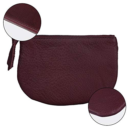 Befen Women Small Cute Leather Wallet, Soft Mini Coin Purse with Card Slots for Women and Teens Girls (Burgundy Coin Purse) by befen (Image #2)