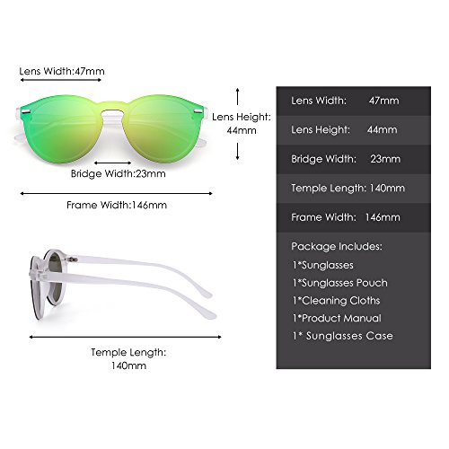 b944dc07d7 JIM HALO Rimless Polarized Sunglasses for Women Men Round One Piece Mirror  Lens