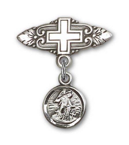 Icecarats Créatrice De Bijoux En Argent Sterling Ange Gardien Broche De Badge Charme Avec Croix 7/8 X 3/4