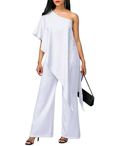OUCHI® Irregular Ruffles Inclined Shoulder Jumpsuit Loose Long Wide Leg Pant Rompers White Us 2XL/Tag - Mall U Town