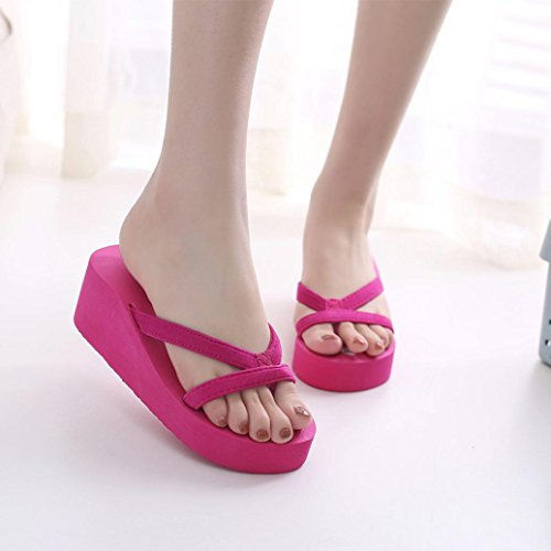 Sonnena Sandals For Women, Women's Summer Fashion Slipper Flip Flops Beach Wedge Thick Sole Heeled Shoes Hot Pink
