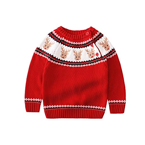 JGJSTAR Baby Toddler Boys Christmas Deer Knit Sweater 100% Cotton Kids Pullover Sweatershirt (Red, 2-3 T/Lable:100)