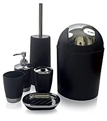 Bath Accessory Set, Black. By GSCW.