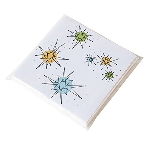 180D Sputnik Retro Atomic Starburst 50s Style Paper Napkins-Pack of 20, White