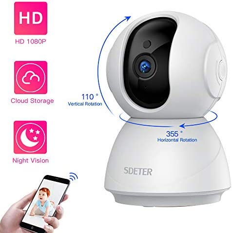 1080P HD Home Security IP WiFi Dome Camera, SDETER Wireless 2-Way Audio Motion Detection Night Vision Baby Pet Monitor Compatible with iOS Android