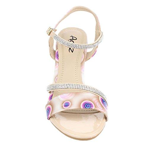 Aarz señoras de las mujeres de la tarde de la boda de tacón Sandalias Fiesta fin de curso nupcial zapatos Tamaño (gris, púrpura, beige) Beige