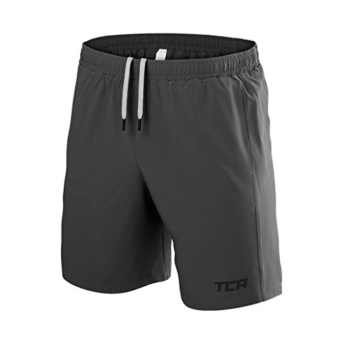 TCA Men's Natural Performance Bamboo Gym / Running Shorts with Pockets - Quiet Shade Grey, - Shades Branded For Men